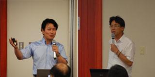事例紹介をする武雄市の山田氏(左)、芽室町の西科氏(右)