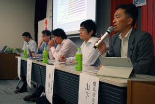 右からネット選挙座談会で発言する山下氏、森氏、菅原氏、市ノ澤、阿部氏