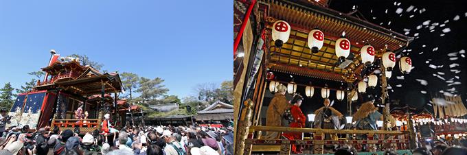 日本三大山車祭の1つ「長浜曳山まつり」(左)、曳山まつりのハイライト「子ども歌舞伎」(右)
