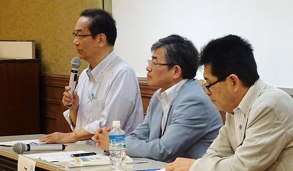 パネルデイスカッションで話す北川所長、江藤教授、中尾さん(左から)