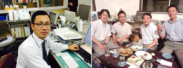 長野県伊那市総務部総務課主査 唐木玲さん(右)、幹事と先輩マネ友と交流