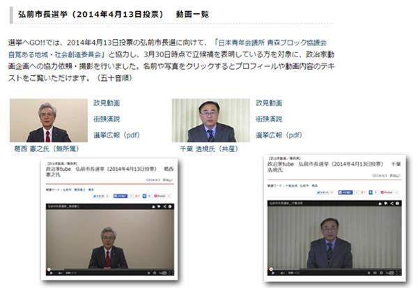政治山に掲載している学生グループが撮影した政見動画