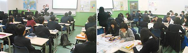 担当教諭からマニフェストと選挙公報、比較表の説明を受ける生徒たち(左)、生徒同士で意見を出し合うグループ討議