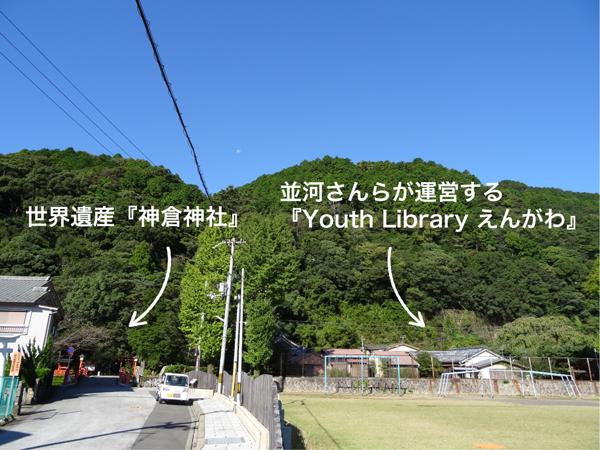 世界遺産の隣、徒歩10秒の場所に、泊まれる民間図書館『Youth Library えんがわ』はある。旅館業許可を取得し登録しているAirbnbを通じて外国人旅行者がやってくる。