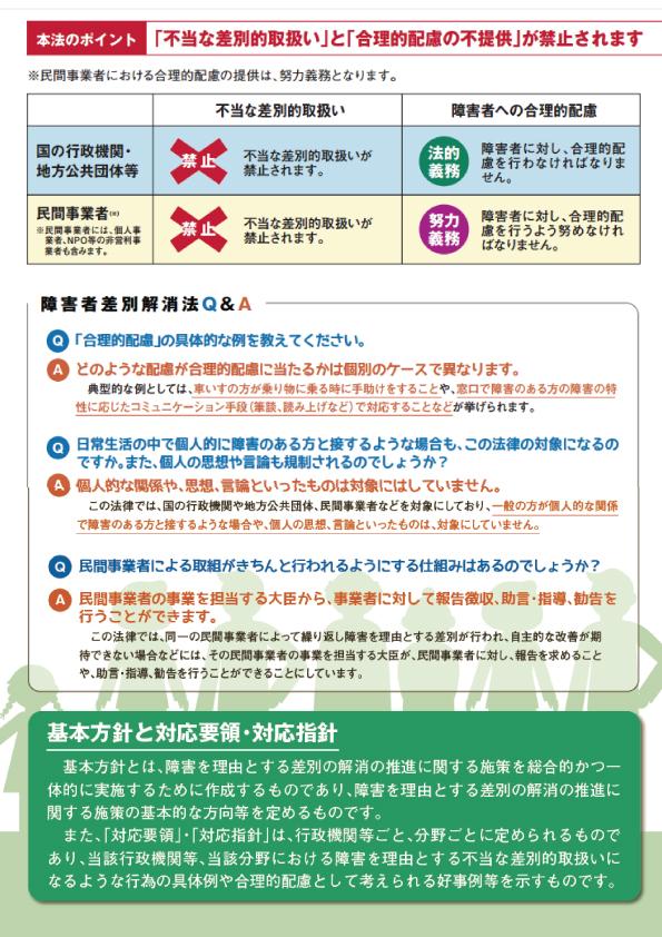 内閣府が作成した障害者差別解消法の広報パンフレット