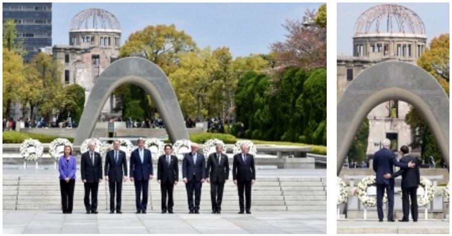 G7外相による平和記念資料館訪問と、原爆死没者慰霊碑献花