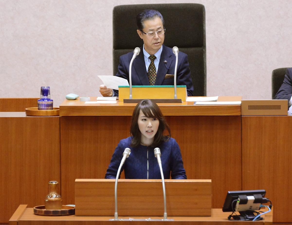 千葉県議会で発言する水野県議