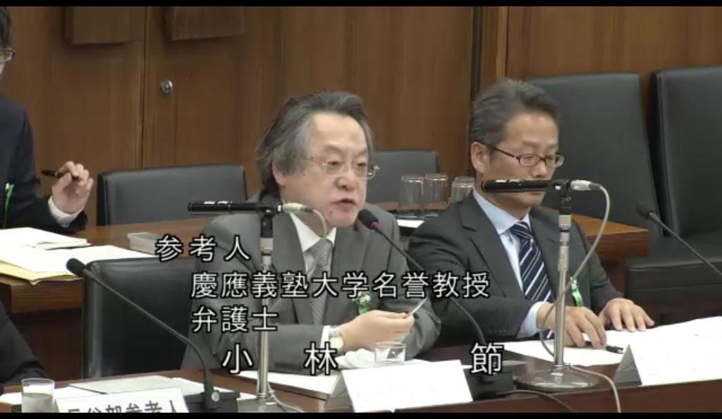 衆院憲法審査会で違憲表明する小林節氏(2015年6月4日、衆議院インターネット審議中継より)