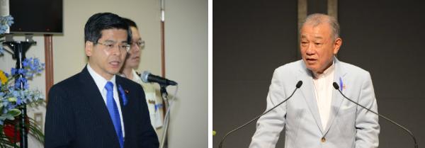挨拶する石井国交大臣=左=と笹川会長