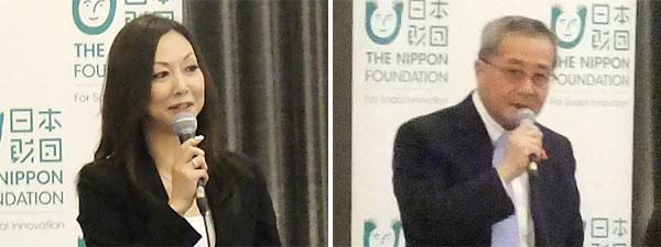 呼び掛け人の西平代表(左)、尾形武寿理事長