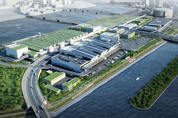 11月7日に開場する豊洲市場の完成予想図