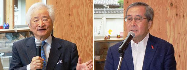 播磨靖夫・社会福祉法人わたぼうしの会理事長(左)、尾形武寿・日本財団理事長