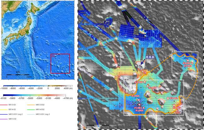 南鳥島の位置(a)、および本航海においてマンガンノジュールの分布調査を実施した南鳥島EEZ周辺(b)の海底地形図