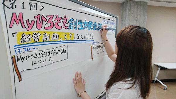 グラフィックをする弘前市役所佐々木さん