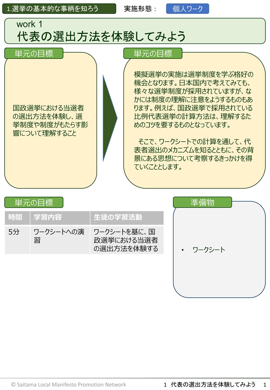 副教材『代表の選出方法を体験してみよう』より(ページ1)