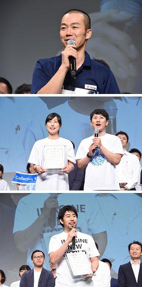 受賞の喜びを語る岩本さん、河内・高さん、林さん