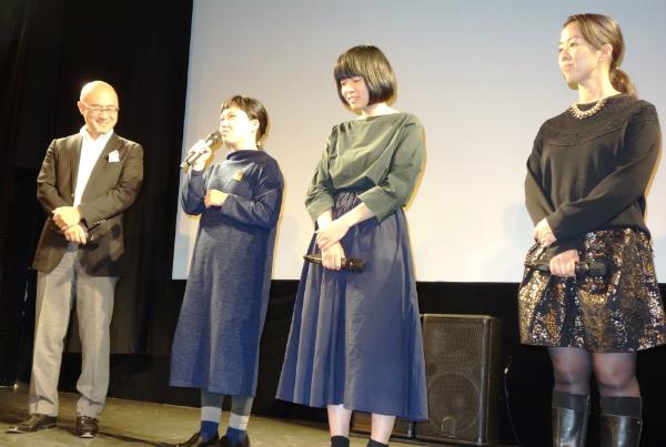 紹介される女性3監督とプロデューサー