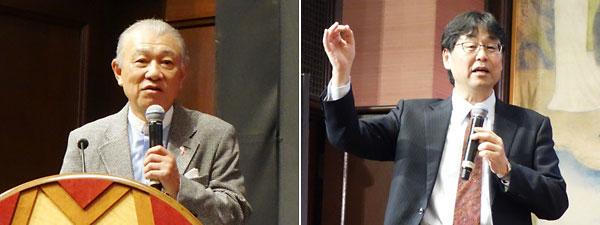 あいさつをする笹川陽平・日本財団会長(左)、神崎亮平・東大先端研所長