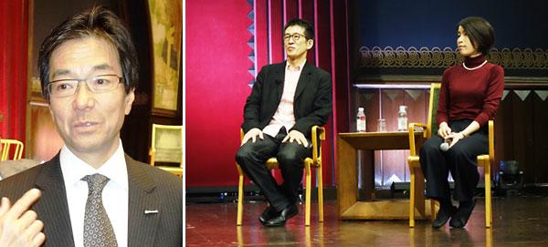 来賓の樋口 泰行・日本マイロソフト会長、セミナー講師の千葉学・東京大学副学長と田口 純子・ROCKETコーディネーター