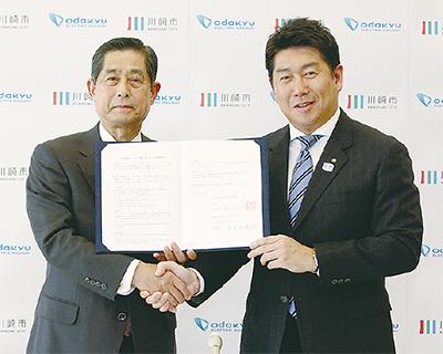 山木利満社長(左)と福田市長