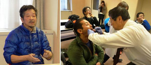 (左)あいさつをする日本障害者カヌー協会の吉田義朗会長、(右)歯型のかたどりの様子