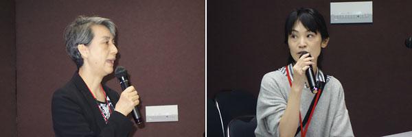 開会のあいさつをする日本ALS協会の平岡久仁子事務局長(左)、事業の概要を説明する橋本佳代子コミュニケーション支援委員(右)