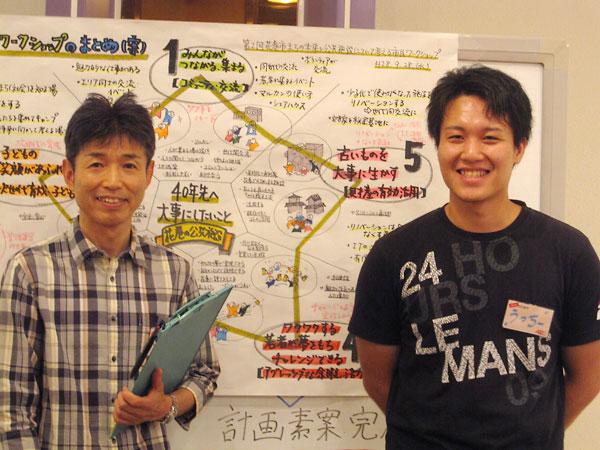 ワークショップでファシリテーターを務めた杉山浩さん(左)、内田祐貴さん(右)