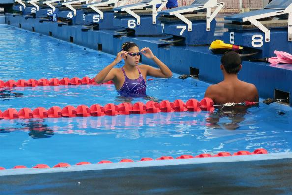 インタビュー当日もきつい練習に取り組む池選手