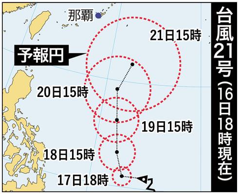 【台風21号】衆院選投開票日に台風接近か 勢力強め沖縄周辺へ