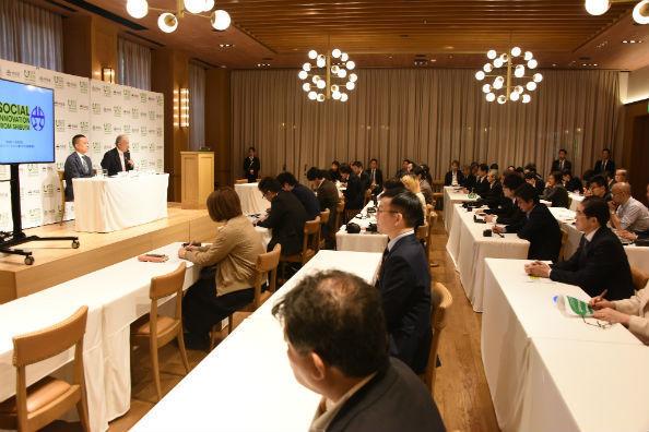 渋谷区神宮前のホテルで記者発表が行われた