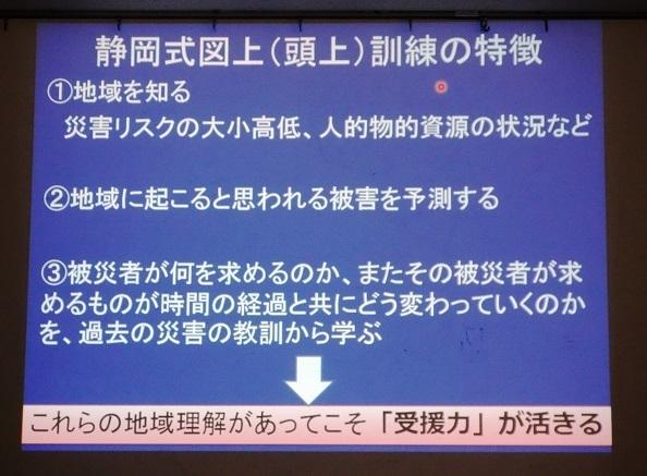 静岡式図上訓練の特徴(初日開会前に実施されたプレセミナーの説明画面から)