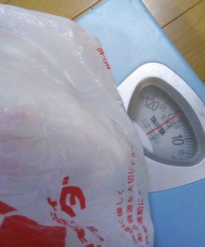 1日に赤ちゃんが使う疑似オムツ5個の重さは1.2キロ