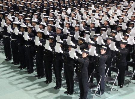 女性が過去最多 海自横須賀教育隊の入隊式