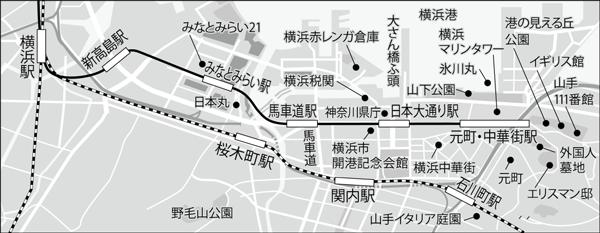 世間が横浜としてイメージするエリア (出処)大原瞠『住みたいまちランキングの罠』