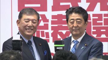安倍・石破両氏記者会見 自民党総裁選
