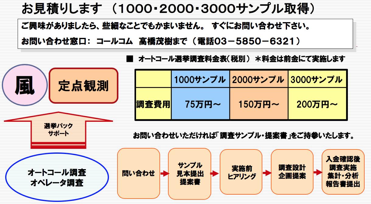 オートコール選挙調査料金表